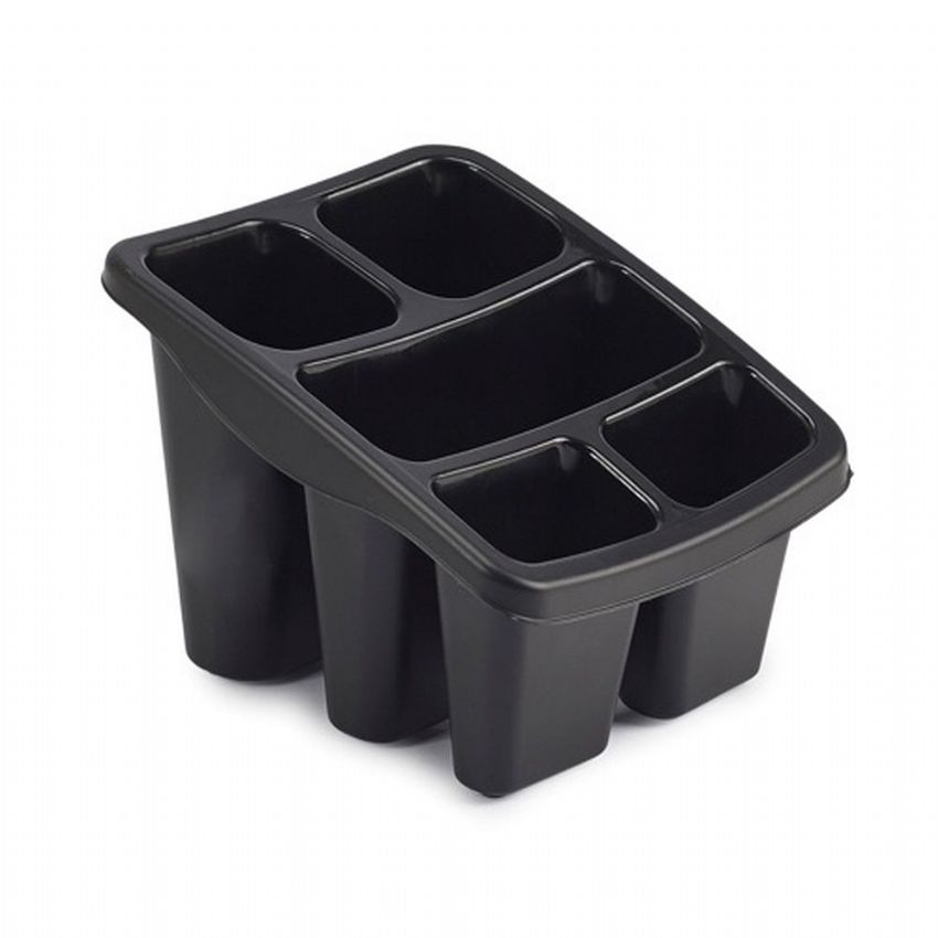 Plastic Washing Up Cutlery Drainer & Holder (Black)